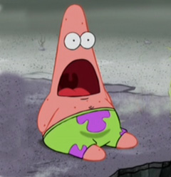 Photo from Spongebob Squarepants, added by Surprise bit at http://knowyourmeme.com/memes/surprised-patrick